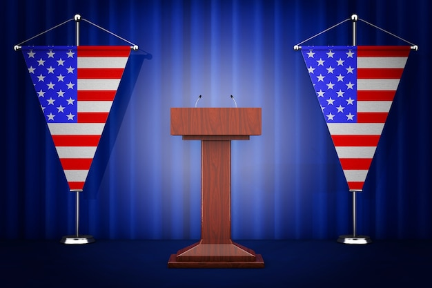 Tribune tribune discours stand avec microphones près des drapeaux des états-unis sur un fond blanc. rendu 3d