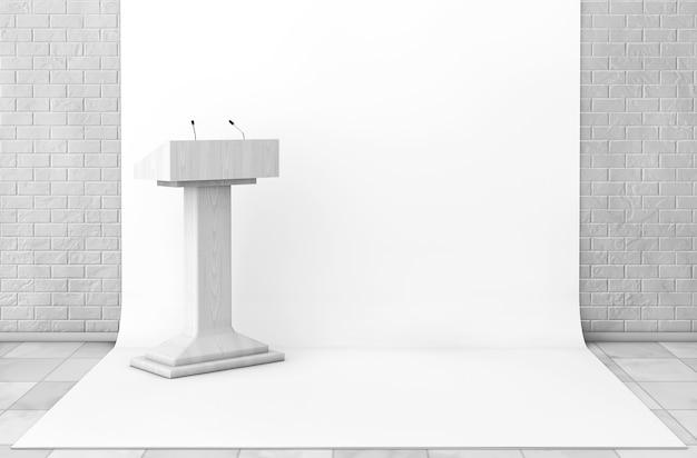Tribune tribune stand avec microphones dans studio room gros plan extrême. rendu 3d