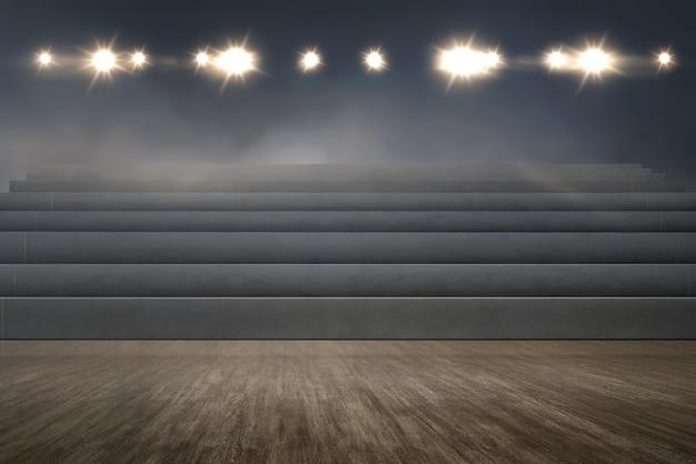 Tribune vide avec des projecteurs