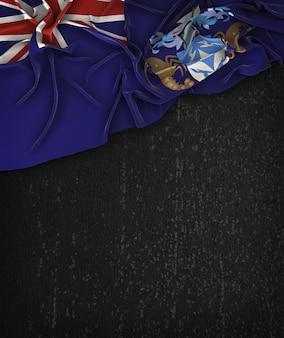 Tristan da cunha drapeau vintage sur un tableau noir grunge avec un espace pour le texte