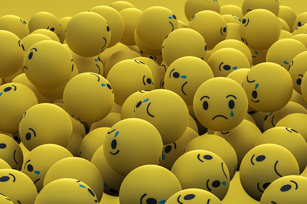 Triste facebook médias sociaux emoji fond de rendu 3d, symbole de ballon de médias sociaux
