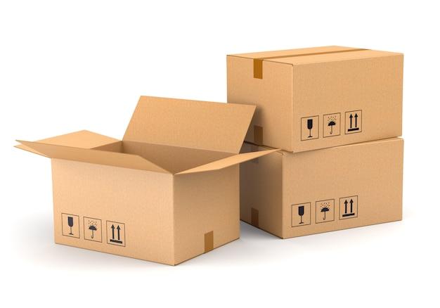 Trois boîtes en carton