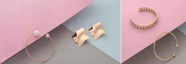 Trois bracelets dorés modernes avec diamants sur fond de couleur pastel avec espace pour copie