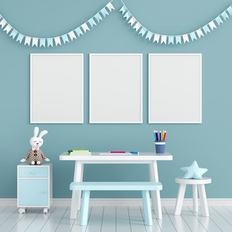Trois cadre photo vide dans la chambre d'enfant