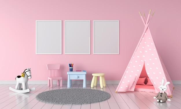 Trois cadre photo vide dans la chambre des enfants
