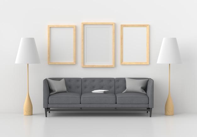 Trois cadre photo vide dans le salon moderne, rendu 3d