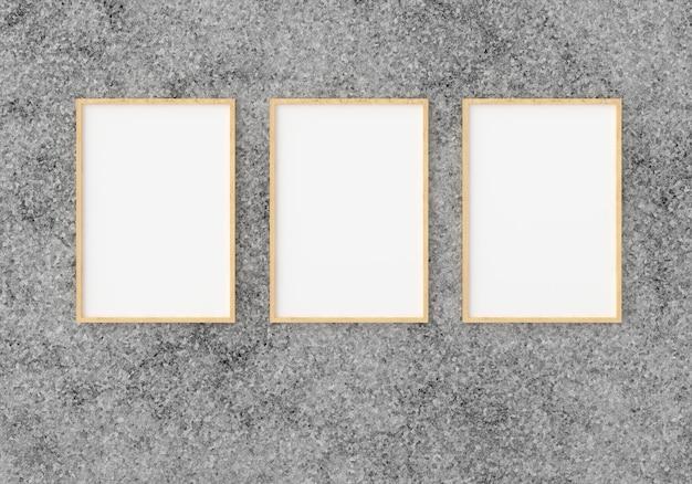 Trois cadre photo vide pour dans le mur vide, rendu 3d, 3d