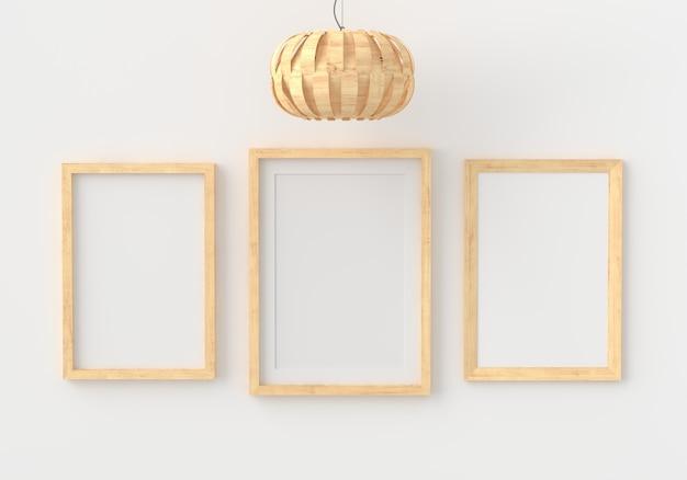 Trois cadre photo vide pour dans une salle blanche vide, rendu 3d, 3d
