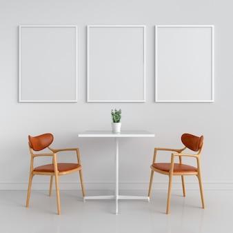 Trois cadre photo vide pour maquette sur le mur