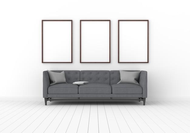 Trois cadre photo vide pour maquette en salle blanche