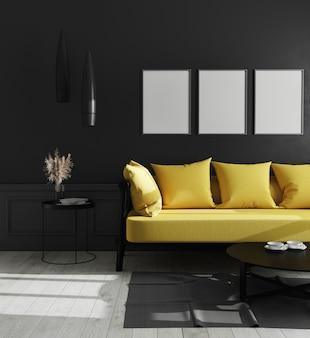 Trois cadres d'affiches verticales vierges dans un intérieur de salon de luxe moderne avec mur noir et canapé jaune vif, style scandinave, illustration 3d