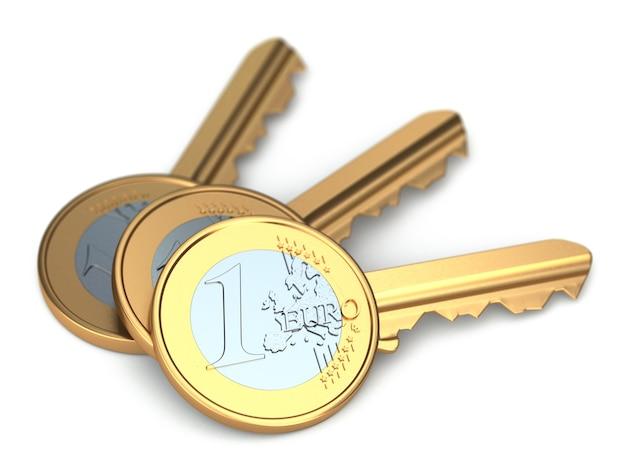 Trois clés de pièce en euros sur fond isolé blanc 3d