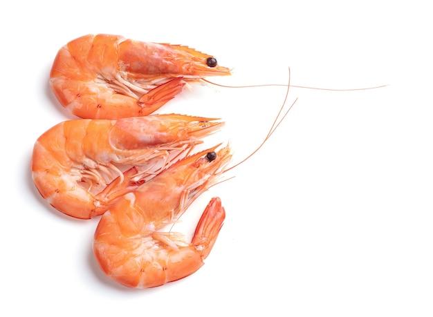 Trois crevettes découpées sur fond blanc