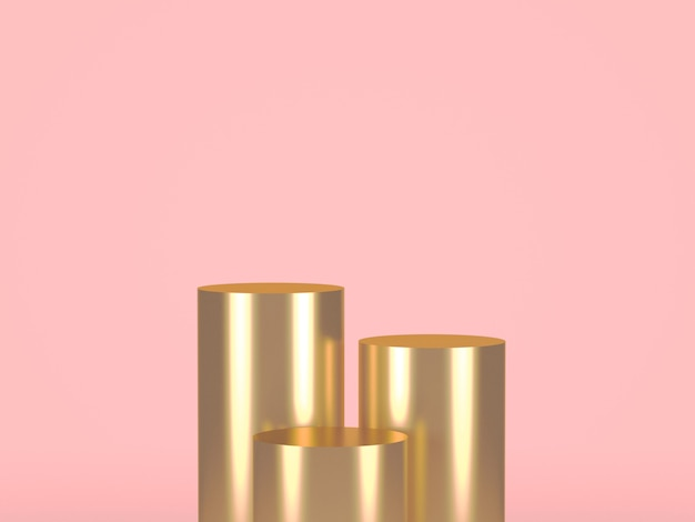 Trois cylindres d'or sur pastel