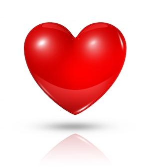 Trois dimensions coeur rouge isolé sur blanc avec un tracé de détourage