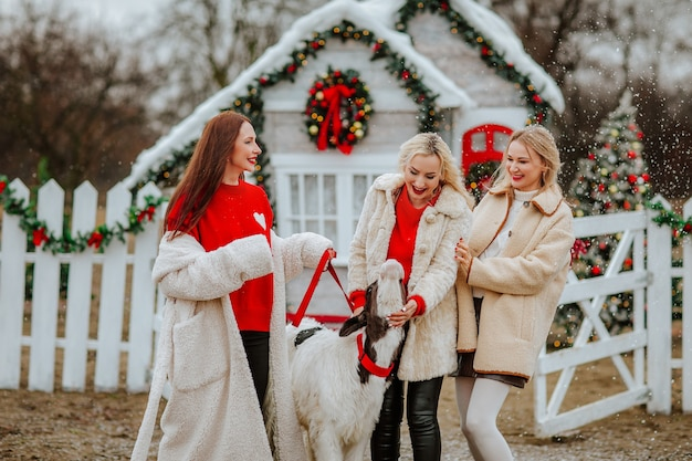 Trois femmes posant avec un petit taureau contre un ranch décoré sous la neige.