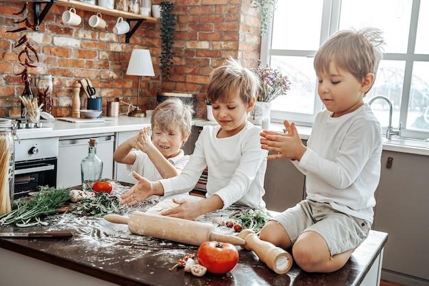 Trois fils d'âge préscolaire d'une famille caucasienne et leur activité de loisirs dans la cuisine. les garçons jouent et aiment grandir ensemble.
