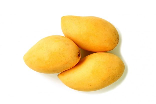 Trois fruits entiers de mangue mûres fraîches isolé sur blanc