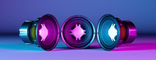 Trois haut-parleurs se regardant dans un néon, illustration 3d