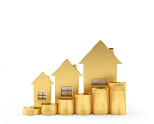 Trois icônes de maisons en or avec des pièces sous forme de graphique