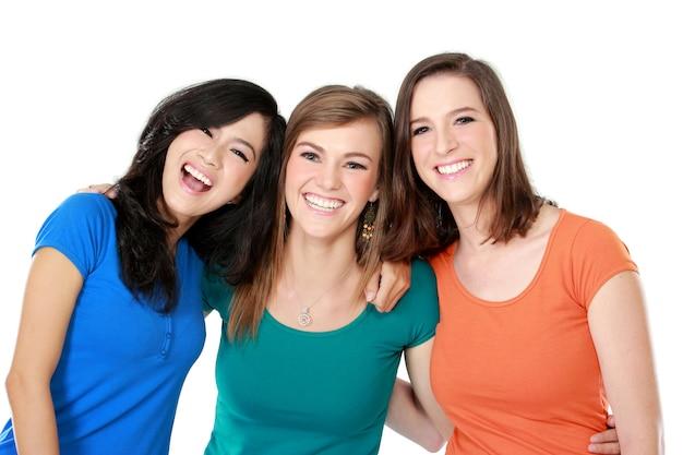 Trois, jeunes femmes, étreindre
