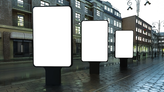 Trois lightbox sur rue du soir