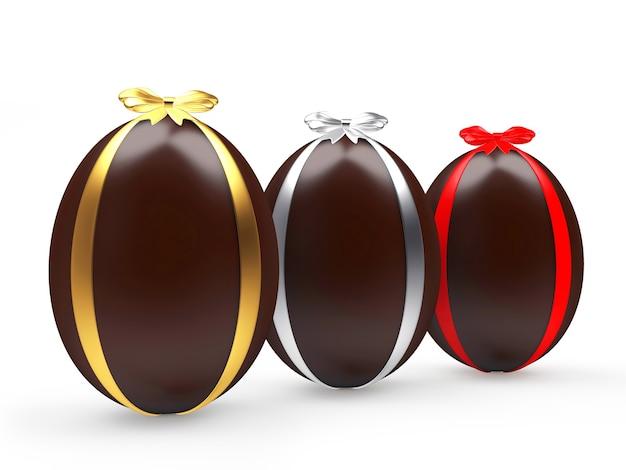 Trois œufs de pâques en chocolat