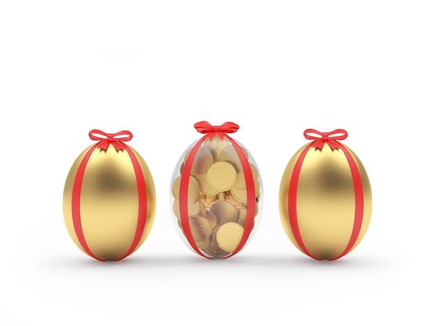 Trois oeufs de pâques en or remplis de pièces de monnaie