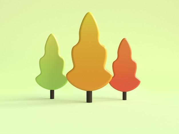 Trois pins minimal style de bande dessinée automne / saison d'automne rendu 3d scène verte
