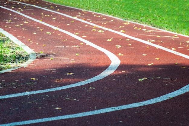 Trois pistes de course dans le stade, parsemées de feuilles jaunes