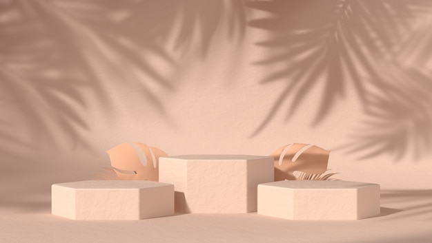 Trois podiums abstraits pour le placement de produits cosmétiques en arrière-plan naturel