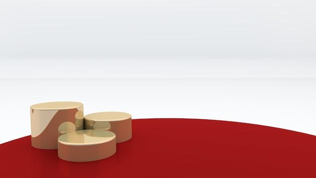 Trois podiums ronds dorés sont placés sur un fond rouge