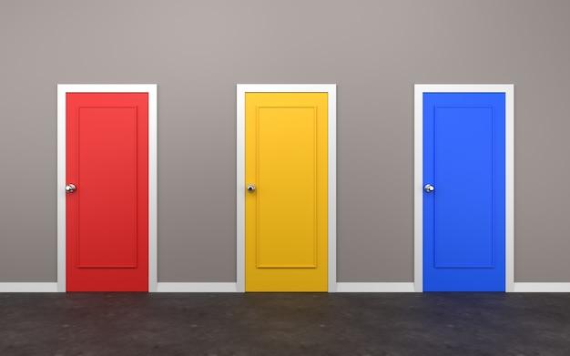 Trois portes fermées dans la salle 3d illustration