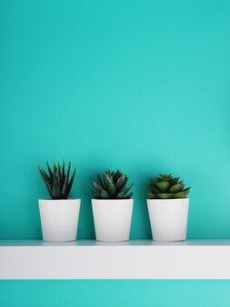 Trois pot blanc avec une plante sur fond bleu, nature morte, copie de l'espace.