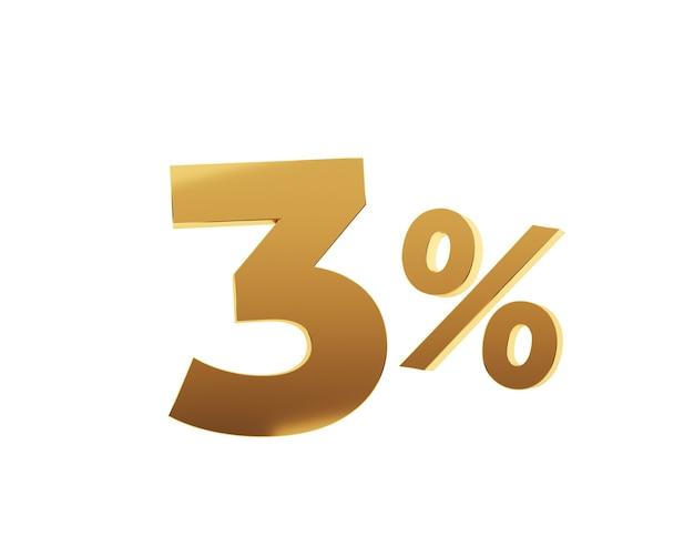 Trois pour cent d'or sur fond blanc. rendu 3d.