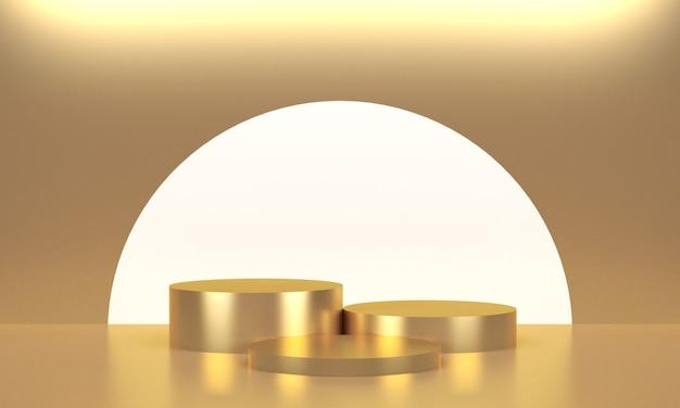 Trois présentoirs ronds dorés pour le produit
