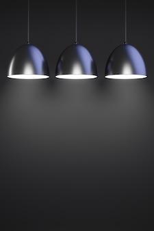 Trois suspensions lumineuses noires