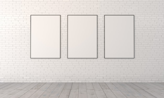 Trois tableaux vides dans le cadre