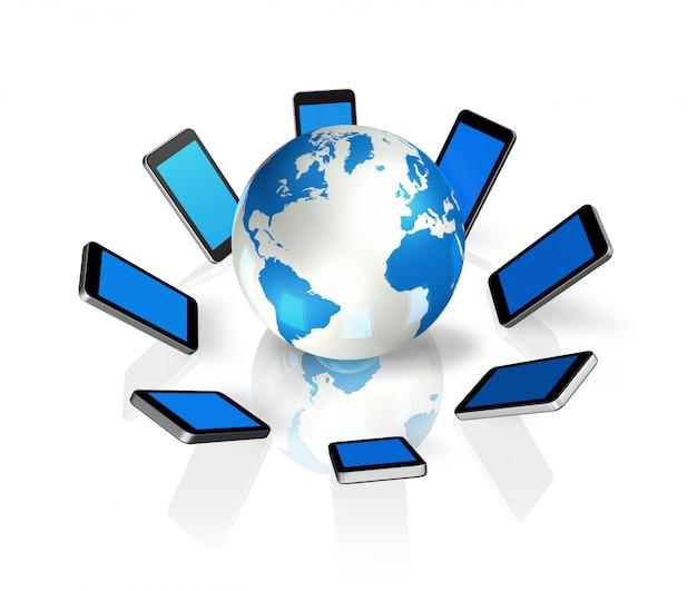 Trois téléphones mobiles dimensionnels dans le monde entier isolé sur blanc