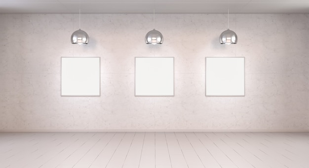 Trois toiles vierges blanches sur un mur rendu 3d