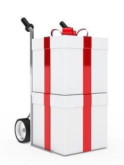Trolley avec deux cadeaux d'anniversaire