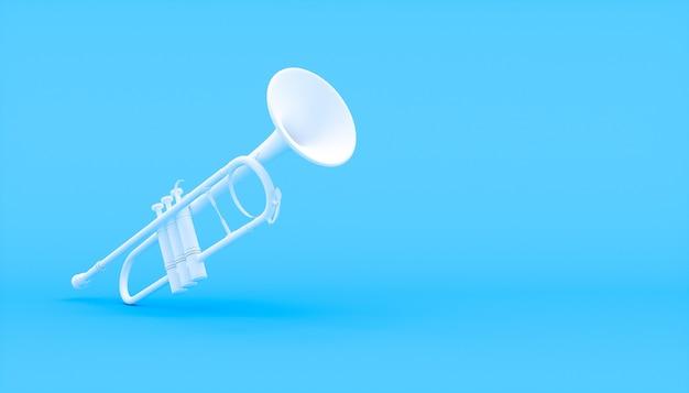 Trompette blanche sur fond bleu, illustration 3d