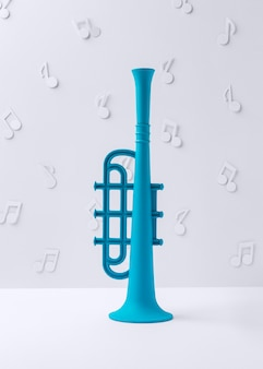 Trompette bleue avec des notes de musique
