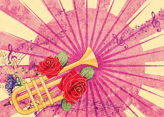 Trompette jaune avec des roses rouges et des notes de musique illustration texturée