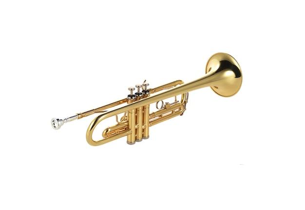 Trompette d'or sur blanc