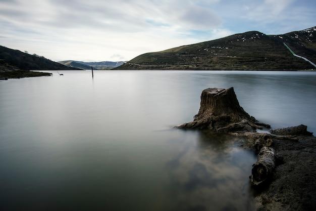 Tronc d'arbre dans un lac calme en hiver, en cantabrie, au nord de l'espagne