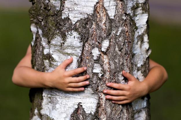Tronc d'arbre embrassé par les mains d'un petit enfant.