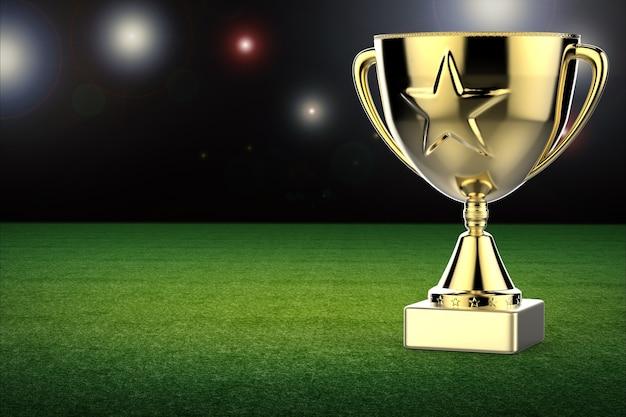 Trophée étoile d'or rendu 3d sur fond de terrain de football