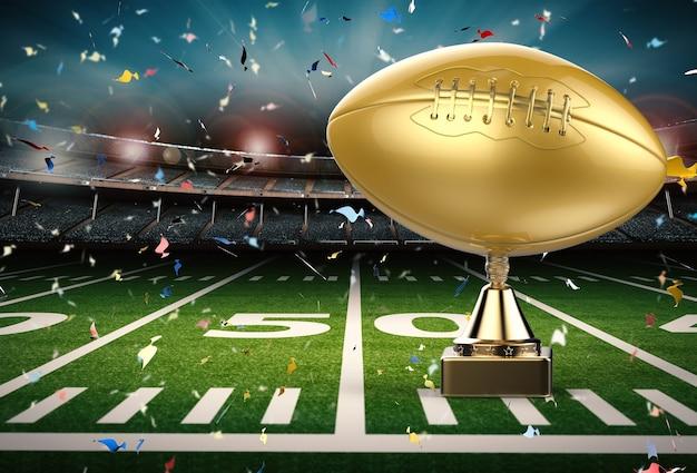 Trophée de football américain en rendu 3d avec fond de terrain de football