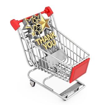 Trophée avec golden merci connexion panier chariot sur un fond blanc. rendu 3d
